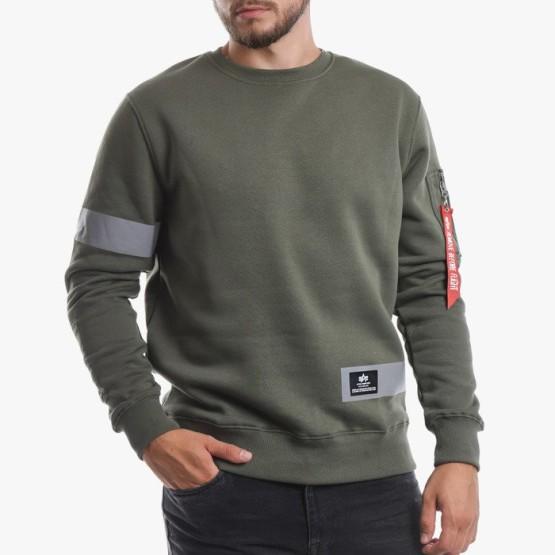 סווטשירט אלפא אינדסטריז לגברים Alpha Industries Reflective Stripes Sweater - ירוק