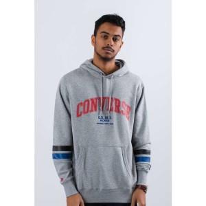 בגדי חורף קונברס לגברים Converse COLLEGIATE TEXT PULLOVER HOODIE - אפור