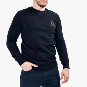 ביגוד HUF לגברים HUF Crewneck Triple Triangle - שחור