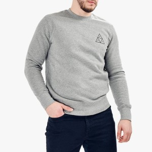 ביגוד HUF לגברים HUF Crewneck Triple Triangle - אפור