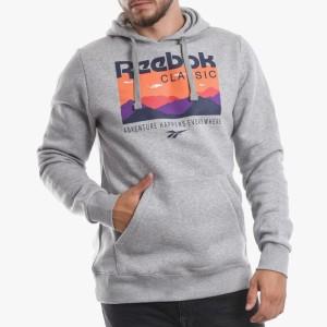 ביגוד ריבוק לגברים Reebok Big Logo Hoodie Trail - אפור בהיר