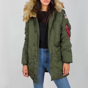 בגדי חורף אלפא אינדסטריז לנשים Alpha Industries Polar Jacket - ירוק