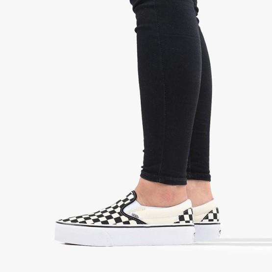 נעליים ואנס לנשים Vans Classic Slip On Platform - לבן/שחור