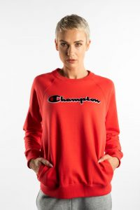 ביגוד צ'מפיון לנשים Champion CREWNECK SWEATSHIRT - אדום