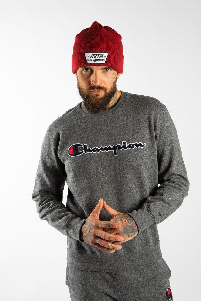 ביגוד צ'מפיון לגברים Champion CREWNECK SWEATSHIRT - אפור כהה