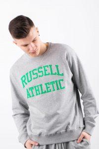 סווטשירט ראסל אתלטיק לגברים Russell Athletic CREWNECK SWEATSHIRT 099 - אפור/ירוק