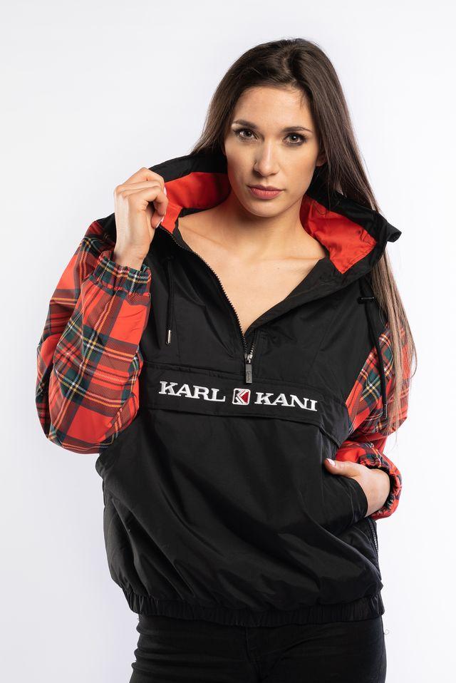 ביגוד קארל קני לנשים KARL KANI RETRO BLOCK WINDBREAKER - שחור/אדום