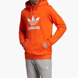 בגדי חורף אדידס לגברים Adidas Originals Trefoil Warm-Up Hoodie - כתום