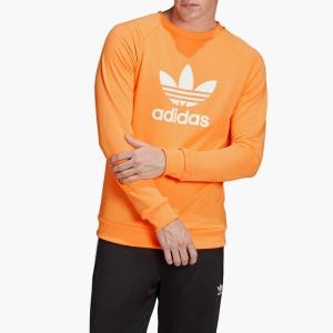 בגדי חורף אדידס לגברים Adidas Originals Trefoil Warm-Up Hoodie - לבן/כתום