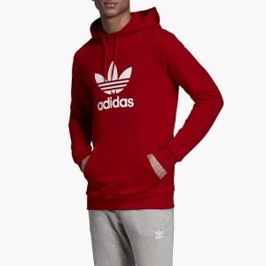 בגדי חורף אדידס לגברים Adidas Originals Trefoil Warm-Up Hoodie - אדום