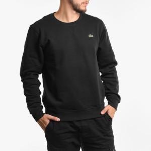 בגדי חורף לקוסט לגברים LACOSTE Crew Neck Sweatshirt - שחור