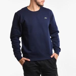 בגדי חורף לקוסט לגברים LACOSTE Crew Neck Sweatshirt - כחול