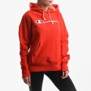 בגדי חורף צ'מפיון לנשים Champion Hooded Sweatshirt - אדום יין