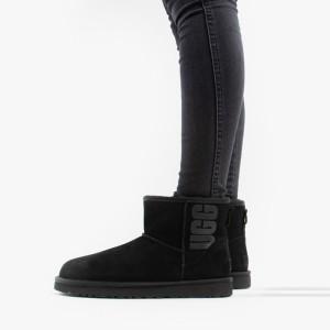 מגפיים האג לנשים UGG Classic Mini Rubber Logo - שחור