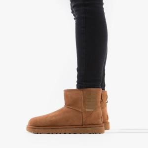 מגפיים האג לנשים UGG Classic Mini Rubber Logo - חום