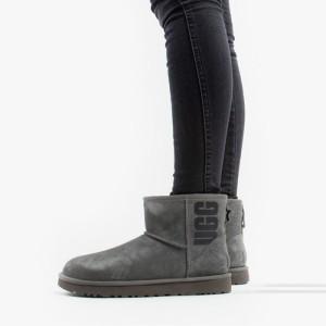 מגפיים האג לנשים UGG Classic Mini Rubber Logo - אפור