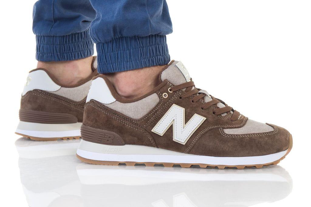 נעליים ניו באלאנס לגברים New Balance 574 - חום/לבן