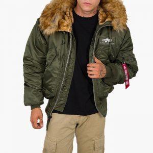ביגוד אלפא אינדסטריז לגברים Alpha Industries 45P Hooded Custom - ירוק