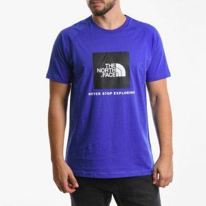 חולצת T דה נורת פיס לגברים The North Face T-shirt Raglan Red Box - כחול