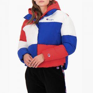 ביגוד צ'מפיון לנשים Champion Jacket - לבן  כחול  אדום