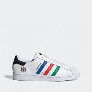 נעלי סניקרס אדידס לגברים Adidas Originals Superstar - צבעוני/לבן