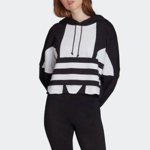 ביגוד אדידס לנשים Adidas Large Logo C Hood - שחור/לבן