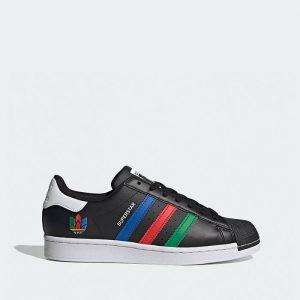 נעלי סניקרס אדידס לגברים Adidas Originals Superstar - צבעוני/שחור