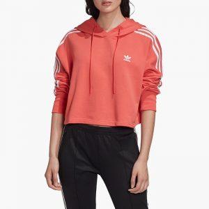 ביגוד אדידס לנשים Adidas Trefoil Cropped Hoodie - ורוד