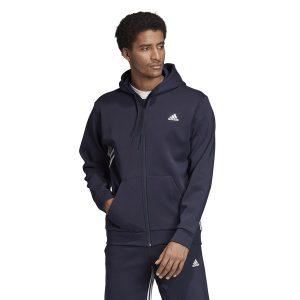 ביגוד אדידס לגברים Adidas M MH 3S FZ - כחול כהה