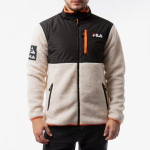 ביגוד פילה לגברים Fila Hadi Fleece Jacket - שחור/לבן