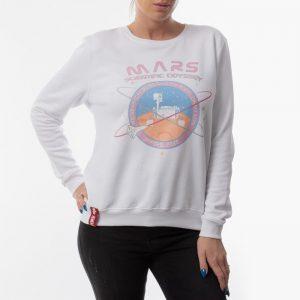 ביגוד אלפא אינדסטריז לנשים Alpha Industries Mission TO Mars - לבן