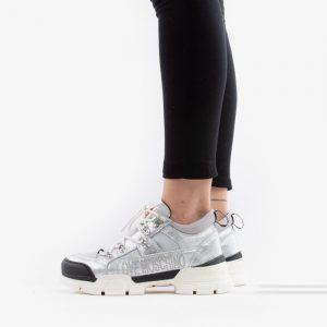 נעליים מוסקינו לנשים MOSCHINO Laminated Trekking - כסף