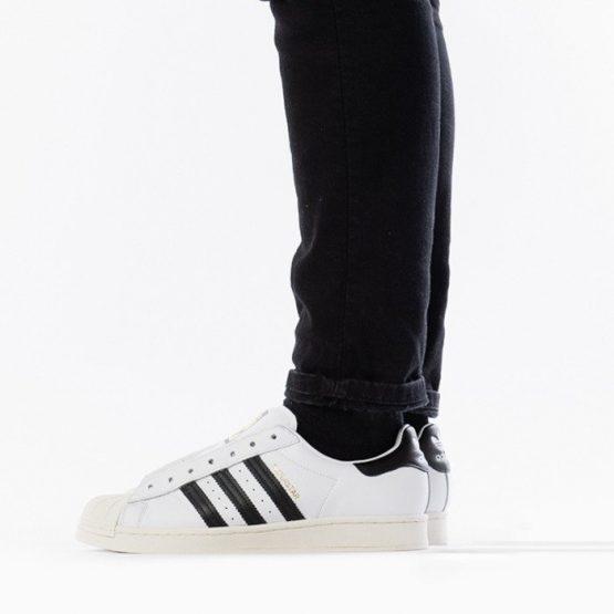 נעלי סניקרס אדידס לגברים Adidas Originals Superstar Laceless - לבן