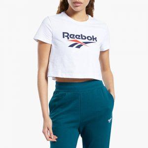 ביגוד ריבוק לנשים Reebok Classic Vector Crop Top - לבן