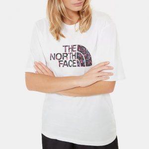 ביגוד דה נורת פיס לנשים The North Face Boyfriend Easy Tee - לבן הדפס