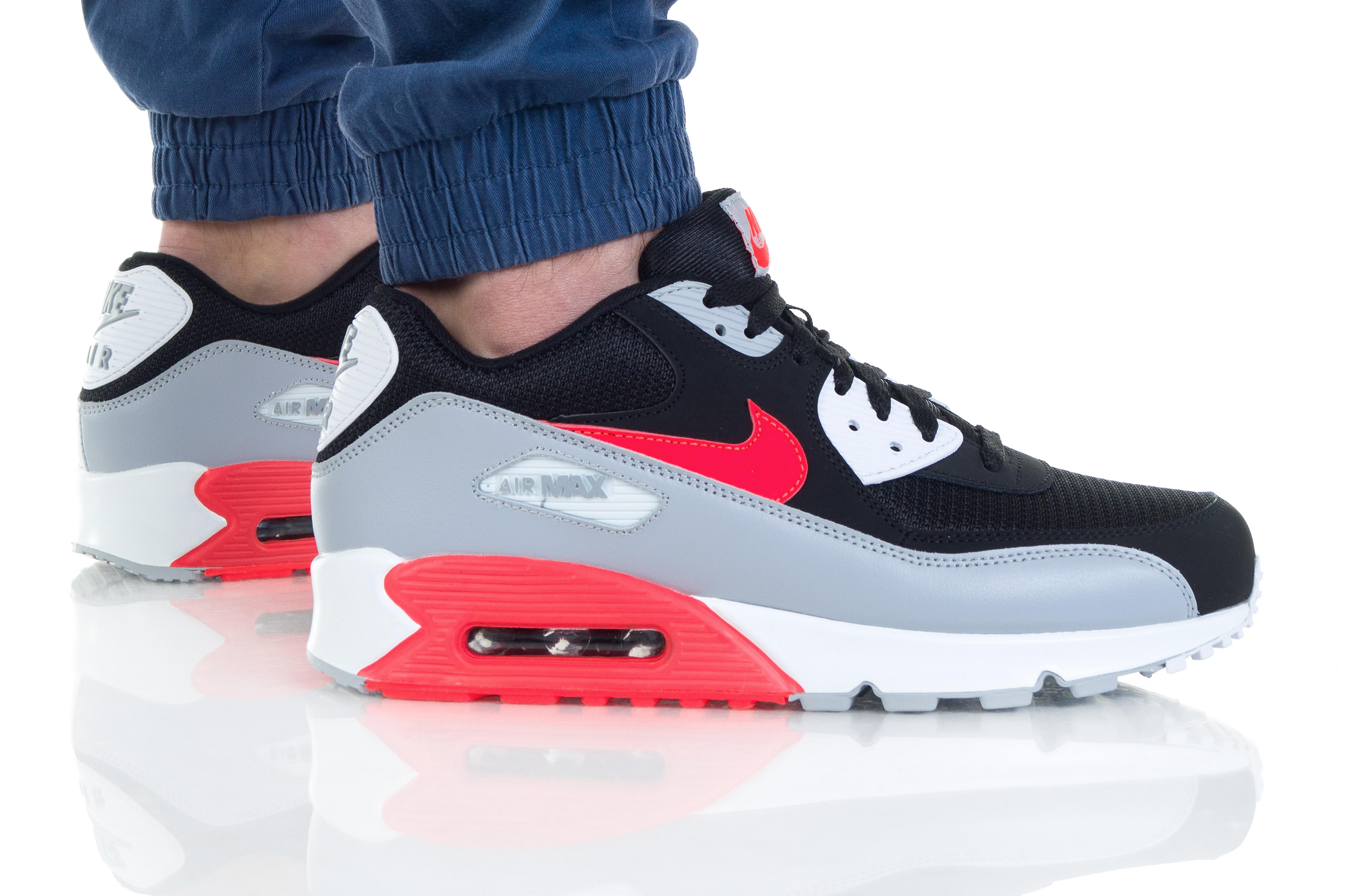 נעליים נייק לגברים Nike Air Max 90 Essential - אפור/אדום