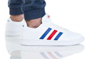 נעלי סניקרס אדידס לגברים Adidas Grand Court - לבן  כחול  אדום