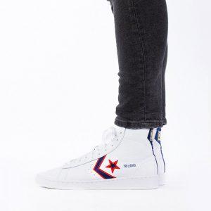 נעליים קונברס לגברים Converse Pro Leather Mid Fort Wayne Pistons - לבן  כחול  אדום