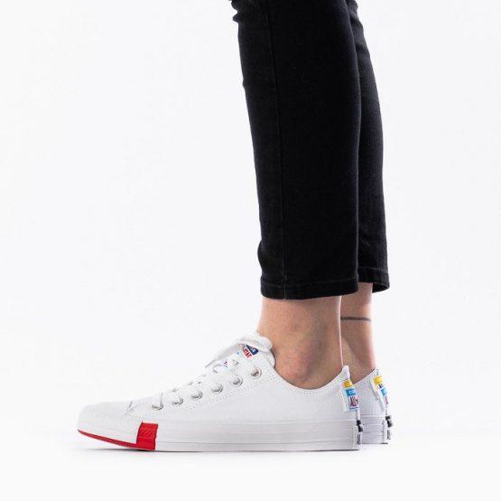 נעלי סניקרס קונברס לגברים Converse Chuck Taylor All Star Leather  - צבעוני/לבן