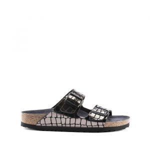 נעליים בירקנשטוק לנשים Birkenstock Arizona Mf - שחור מבריק