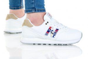 נעלי סניקרס ניו באלאנס לנשים New Balance WL574 - לבן הדפס