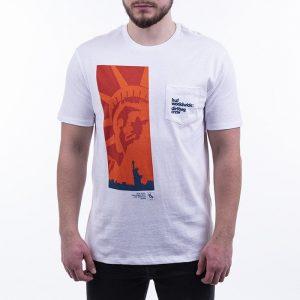 חולצת T HUF לגברים HUF Liberty Pocket - לבן