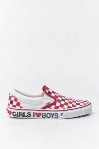 נעליים ואנס לנשים Vans Classic Slip-On - לבן  כחול  אדום