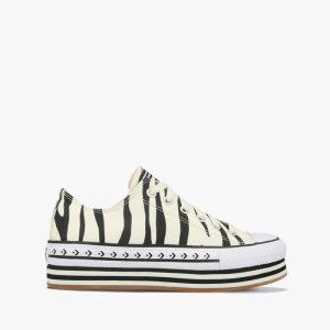 נעליים קונברס לנשים Converse Chuck Taylor Platform Layer OX Sunblocked - שחור/לבן