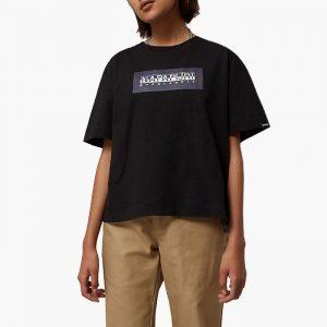 חולצת T נפפירי לנשים Napapijri Sox Check - שחור