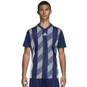ביגוד אדידס לגברים Adidas Striped 19 JSY  - כחול/לבן