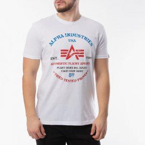 חולצת T אלפא אינדסטריז לגברים Alpha Industries Authentic Print - לבן