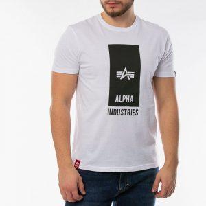ביגוד אלפא אינדסטריז לגברים Alpha Industries Block Logo - לבן
