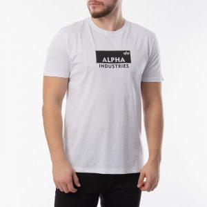 ביגוד אלפא אינדסטריז לגברים Alpha Industries Box Logo - לבן