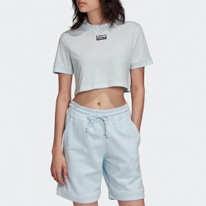ביגוד Adidas Originals לנשים Adidas Originals Tee Cropped - כחול